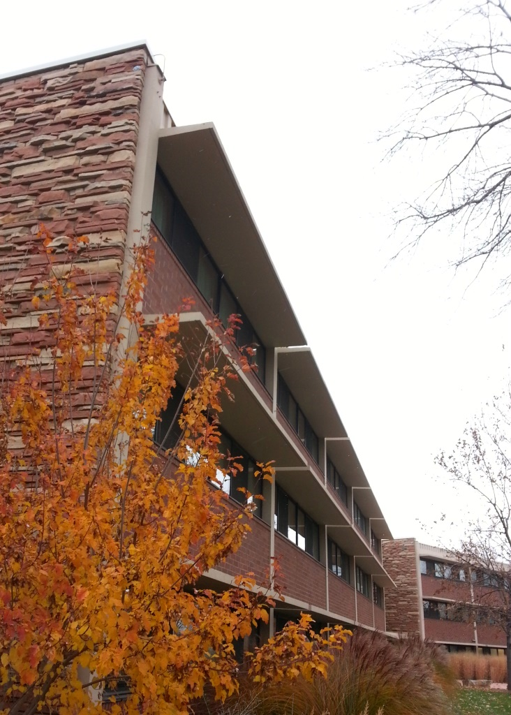 Fall lingers at Ingersoll Hall, even as the first winter snow blows in. Image by Jill Salahub