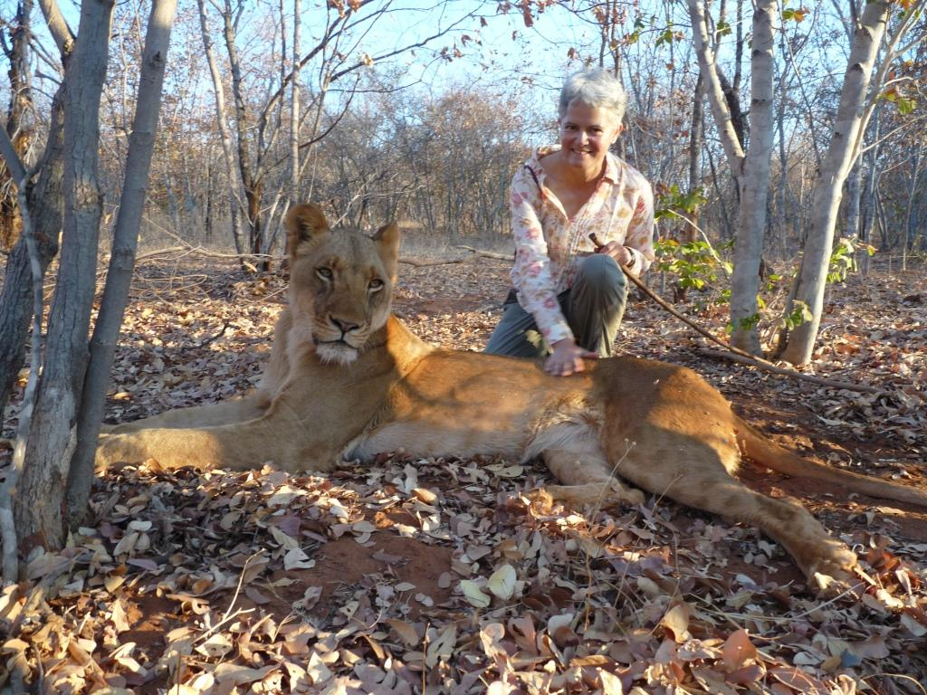 Ellen at the lion sanctuary (for orphaned and injured lions) in Livingstone, Zambia