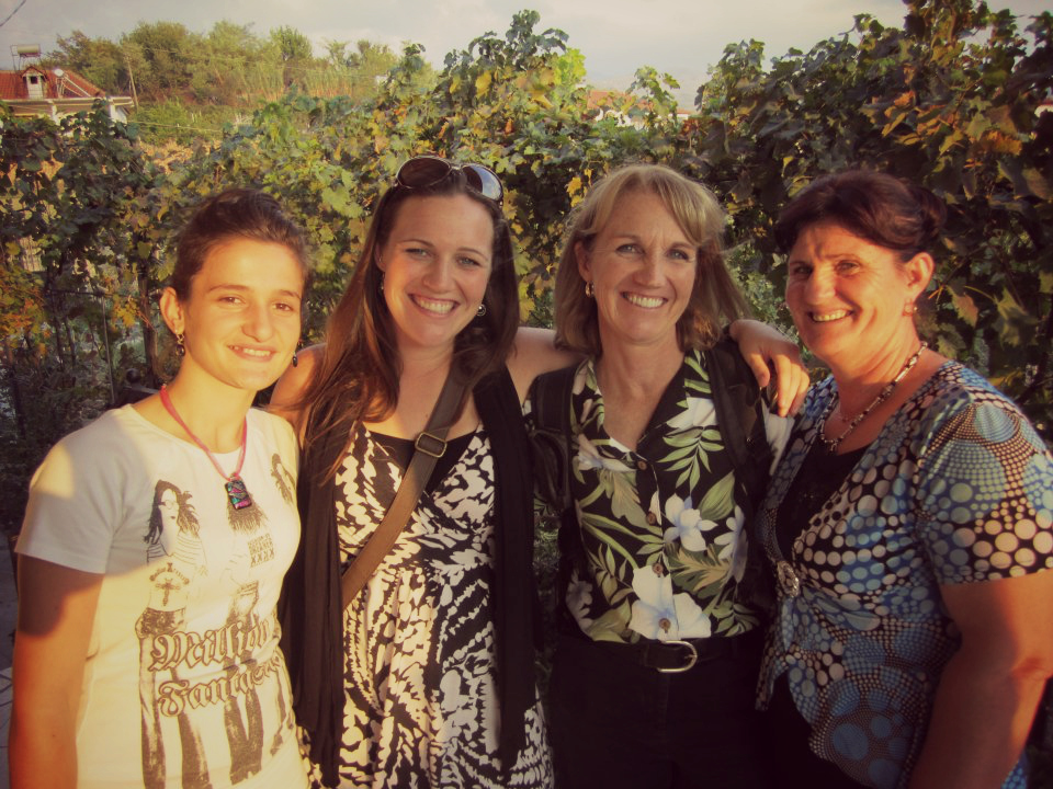 Kimberly's host sister (Leda, 16), Kimberly, Kimberly's mom, and her host mom (Arta) when Kimberly's parents came to visit her in Albania