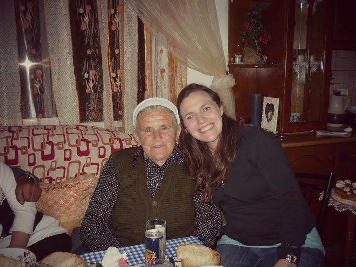 Kimberly with her Albanian host grandmother. Kimberly lived with their family for 10 weeks during pre service training.