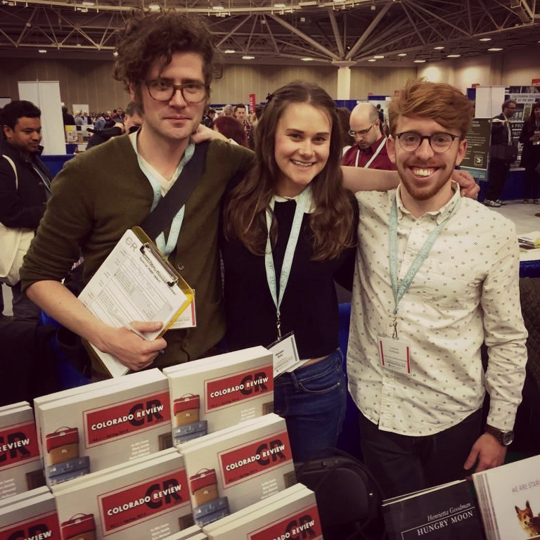 Colorado Review Managing Editor Drew Webster, with Center for Literary Publishing interns Melissa Hohl and Neil FitzPatrick at AWP