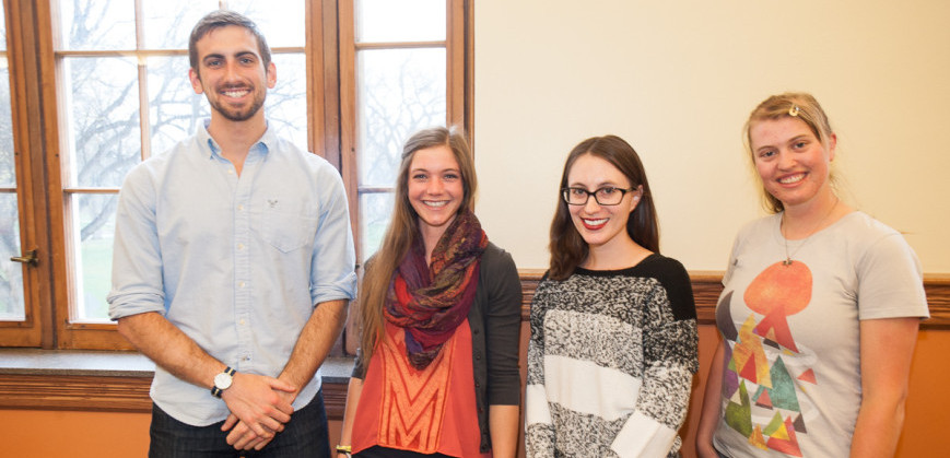 This year's Fulbright Student Award winners (left to right) Rob Musci, Leigha Bohn, Moriah Kent and Karen Holcomb. Not shown: Kathrine Yunker. Image from SOURCE.