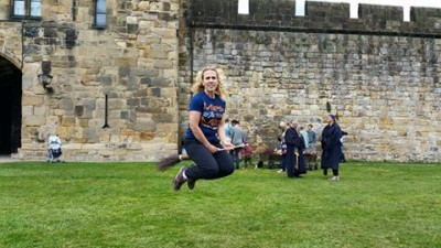 Dr. Pam Coke Takes Flying Lessons at  Alnwic Castle