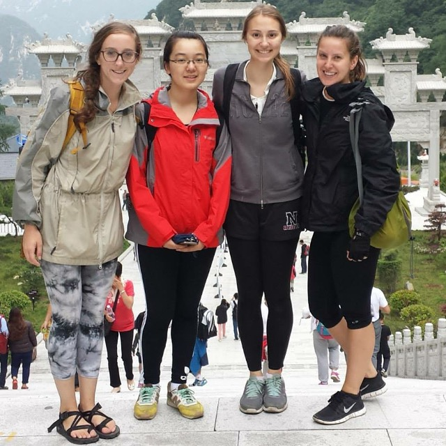 Kathleen Hamel, my student Emily Wang, a fellow teacher, and Kristen Mullen after the exhausting climb up Mount Hua Shan