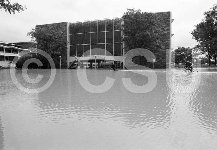 Photo of people riding their bikes past Eddy Hall during the CSU flood of 1997 on July 29, 1997. Photo courtesy of CSU Photography, Department of Creative Services.