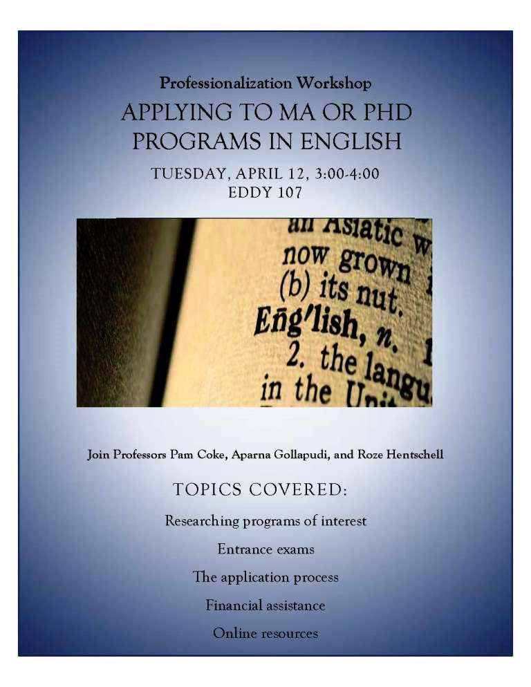 Professionalization Workshop: Applying to MA or PhD Programs in