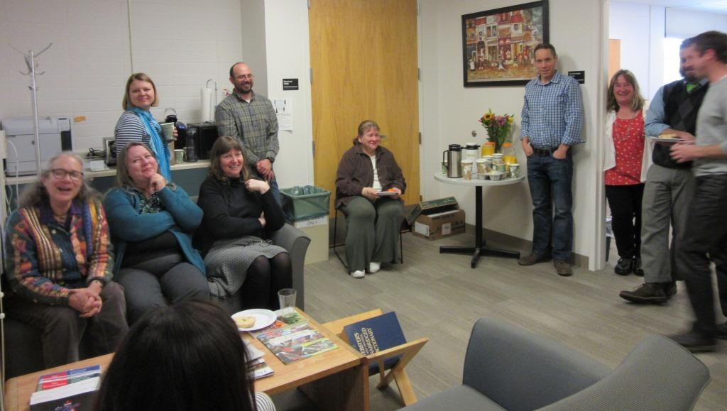 From left to right: Admin Assistant Sue Russell, Senior Teaching Faculty Deb Walker, Assistant Professor Tatiana Nekrasova-Beker, Undergraduate Program Assistant Sheila Dargon, Senior Teaching Faculty Jeremy Proctor, Admin Assistant Marnie Leonard, Senior Teaching Faculty Thomas Conway, Associate Professor Tobi Jacobi, Assistant Professor Tim Amidon, and Associate Professor Dan Beachy-Quick.