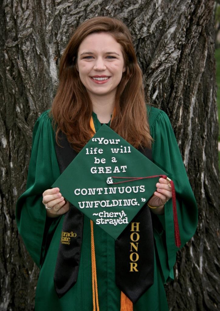 Former English Department Communications Intern Ashley Alfirevic at her graduation Spring 2016