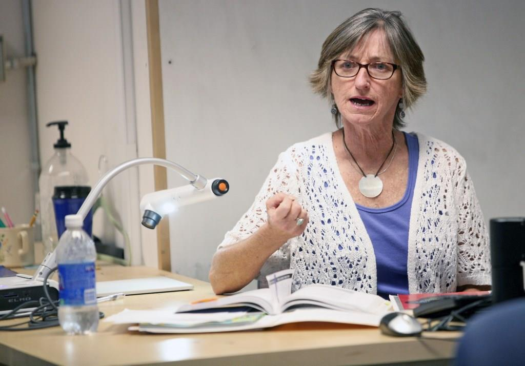 Bev teaching one of her Composition classes, Fall 2012