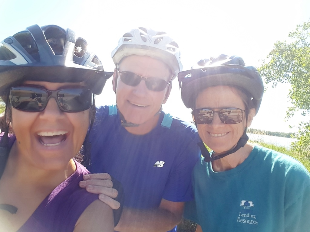 Lillian biking with her husband Joel and a good friend Janice