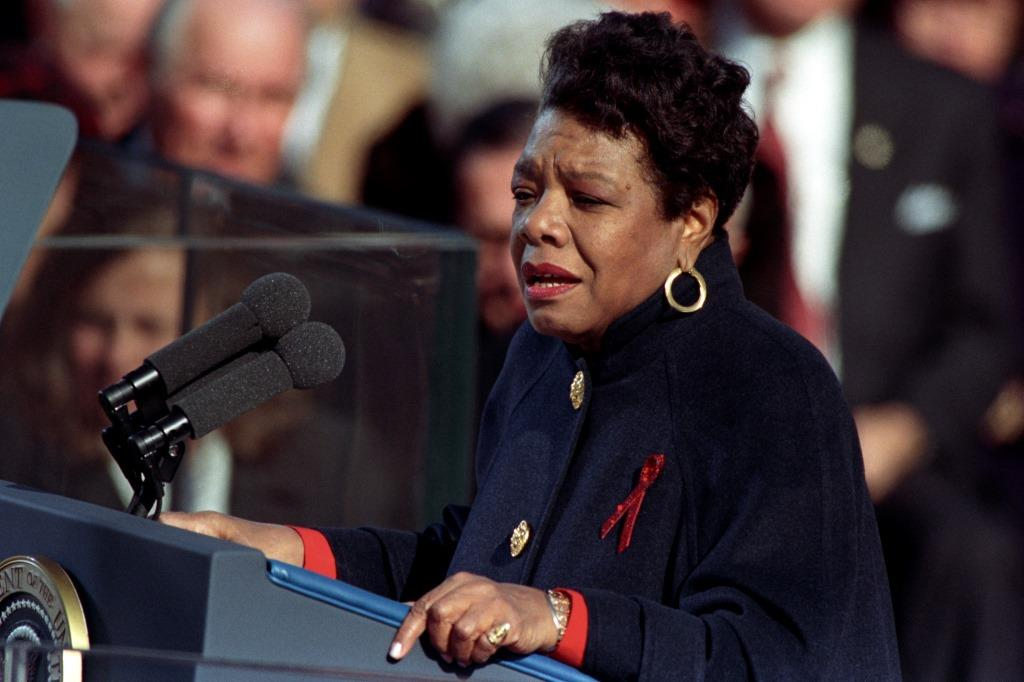 "Maya Angelou reciting her poem ""On the Pulse of Morning"" at President Bill Clinton's inauguration in 1993"