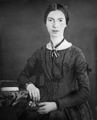 Digitally restored black and white daguerrotype of Emily Dickinson, c. early 1847