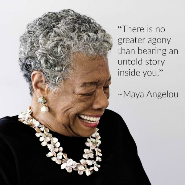 Portrait of Maya Angelou with quote