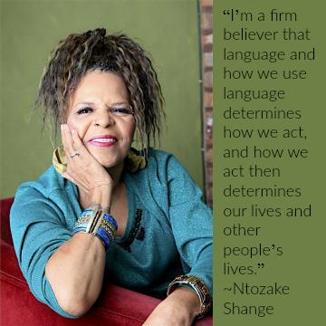 Ntozake Shange portrait with quote