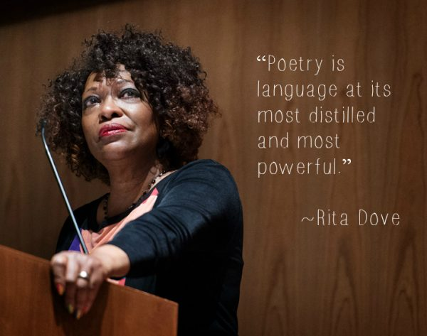 Rita Dove with quote about poetry