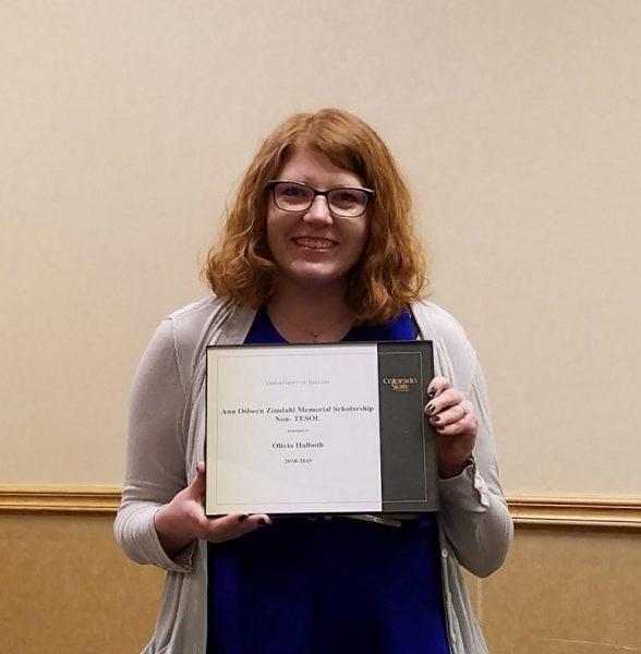 Olivia Halboth receiving her award