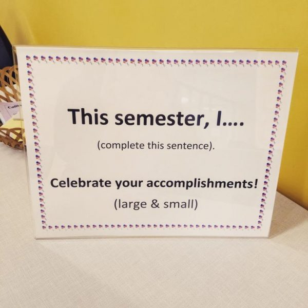 Sign inviting people to share their accomplishments