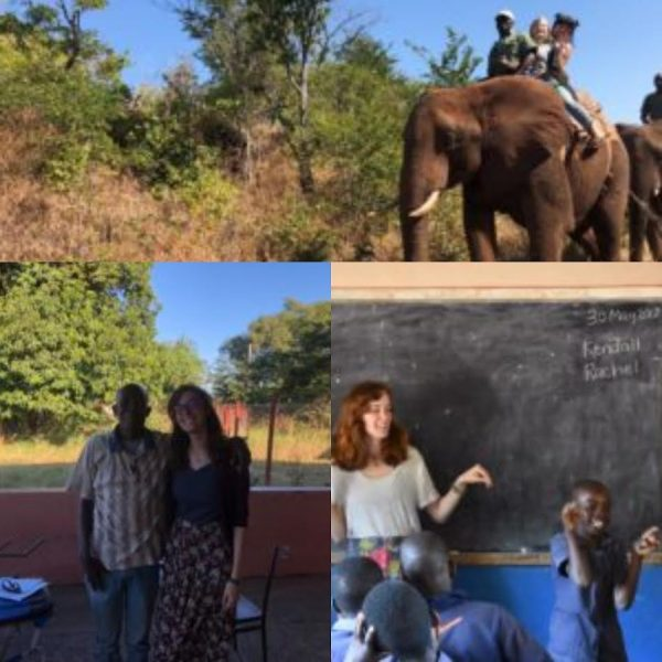 collage of two students in Zambia