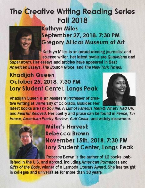 Creative Writing Reading Series Fall 2018 poster