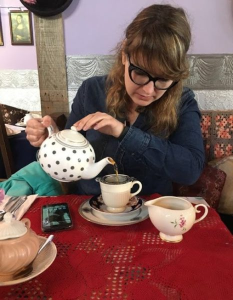 Alice Stopher pouring a cuppa