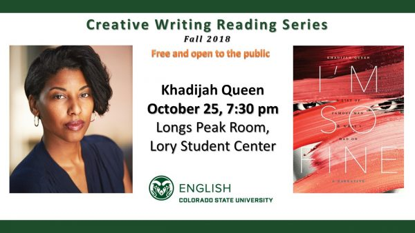 Slide announcing Khadijah Queen's reading