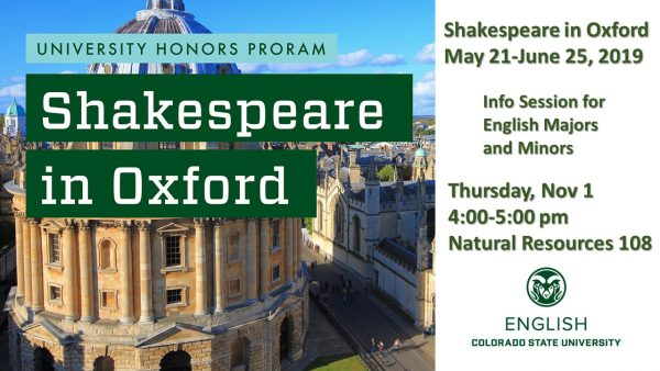 Shakespeare in Oxford Info Session Flatscreen Slide