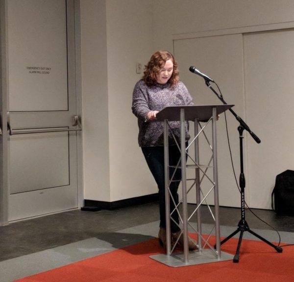 Traisha Myers reading at the event