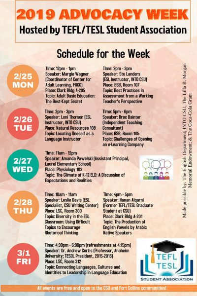 Advocacy Week Schedule