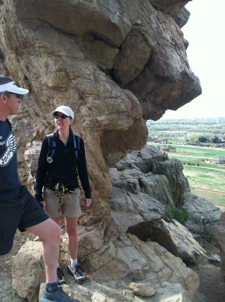 Kate and Bill Doe hiking at Devil's Backbone, May 3, 2014