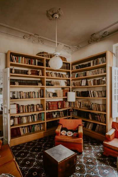Books shelves and a comfy chair