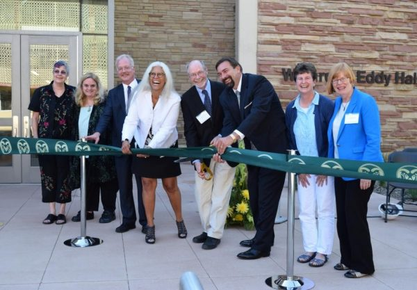 ribbon cutting for remodeled Eddy Hall