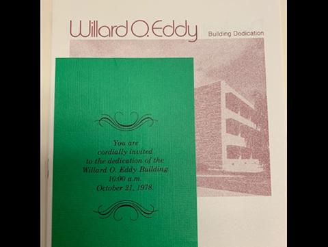 Willard O. Eddy Hall dedication pamphlet and invitation