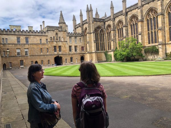 Natalia Sperry with Barbara Sebek at Oxford University courtyard