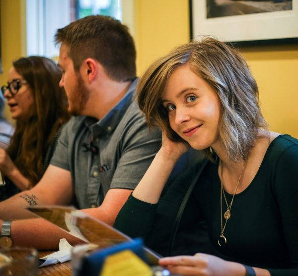 Natalia Sperry in a Collegian Newspaper meeting of the 2018-2019 editorial board