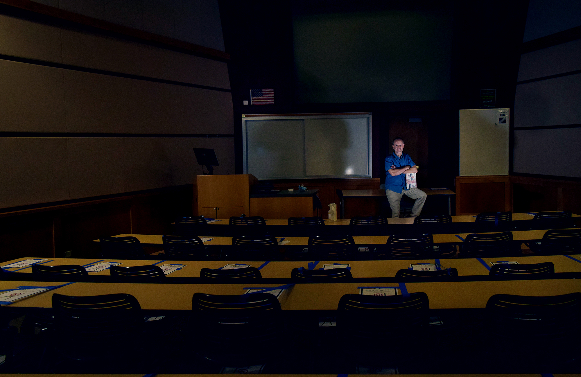Andrew Altschul in empty lecture hall